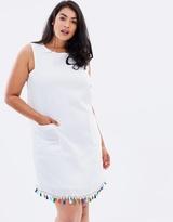 Shift Dress with Tassel Hem