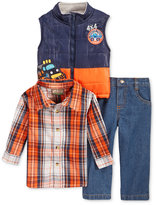Nannette Baby Boys' 3-Pc. Vest, Plaid Shirt & Jeans Set