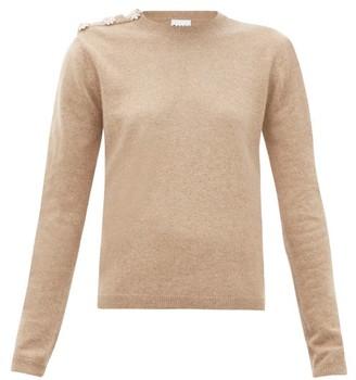 Ganni Crystal-button Cashmere Sweater - Womens - Beige