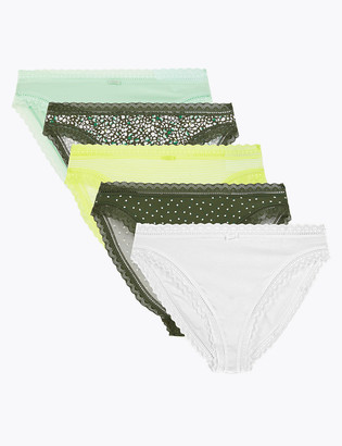 Marks and Spencer 5 Pack Floral Lace Trim High Leg Knickers