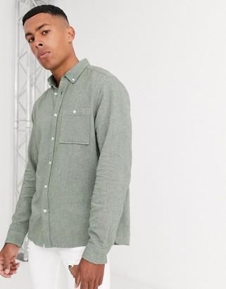 Asos DESIGN regular fit brushed twill shirt in green