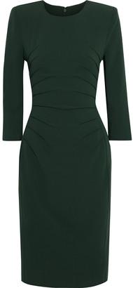 Badgley Mischka Pintucked Stretch-crepe Dress