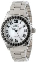 Invicta Women's 14106 Angel White Mother-Of-Pearl Dial Black Spinel Accented Stainless Steel Watch