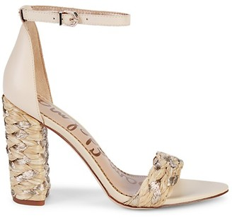 Sam Edelman Yoana Woven Raffia Leather Sandals