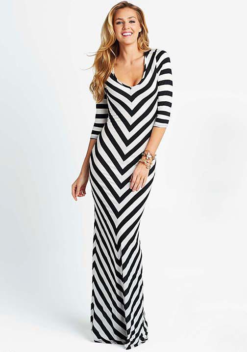 Blu Heaven Teresa Stripe Maxi Dress - Extended Length