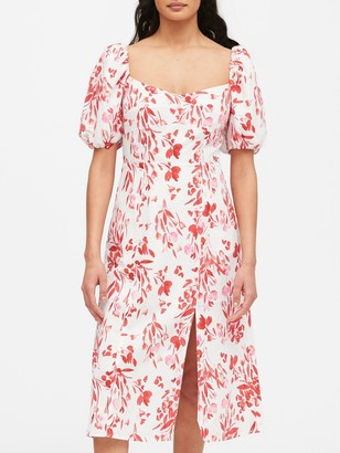 Banana Republic Petite Linen-Cotton Puff-Sleeve Dress