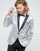 Asos Skinny All Over Sequin Blazer