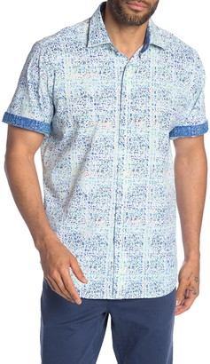 Bugatchi Abstract Print Short Sleeve Classic Fit Shirt