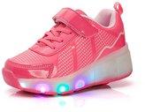 SUPER NENG Boy's Girl's Wheely's Jazzy USB charging Heelys Roller Skate Shoes