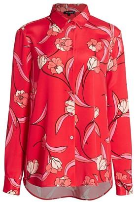 St. John Floral Stretch Silk Crepe De Chine Blouse