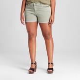 Ava & Viv Women's Plus Size Denim Midi Shorts Light Green
