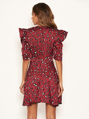 AX Paris Animal Print Puff Sleeved Dress - Red