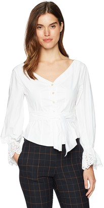 Rebecca Taylor Women's Long Sleeve Eyelet Pop Top