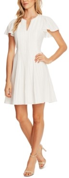 CeCe Flutter-Sleeve Pleated-Front Dress