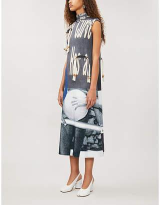 ELLISS Right Angle graphic-print stretch-organic-cotton midi dress