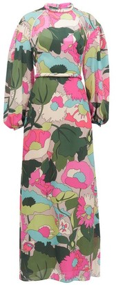 Fendi Windflower-print Balloon-sleeve Silk Maxi Dress - Pink Print