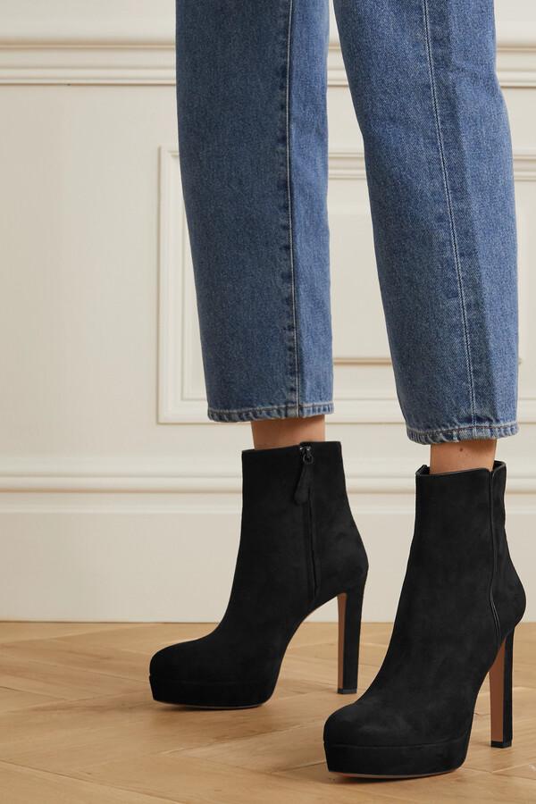 Thumbnail for your product : Aquazzura Quant 120 Suede Platform Ankle Boots - Black