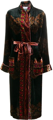 Pierre Louis Mascia Mixed-Print Tie-Waist Coat