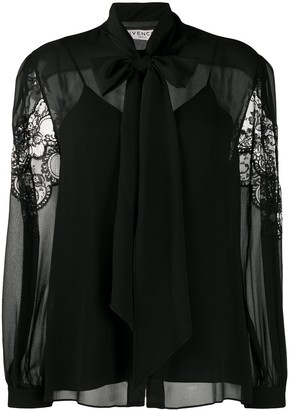 Givenchy Pussy-Bow Lace Blouse