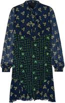 Anna Sui Pussy-bow printed silk-chiffon mini dress