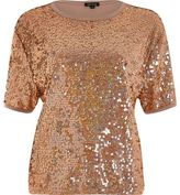 River Island Womens Gold sequin boxy T-shirt