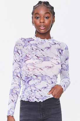 Forever 21 Mesh Marble Print Top