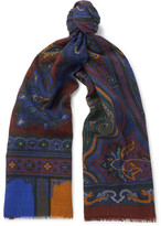 Etro Fringed Paisley Wool And Yak-blend Scarf