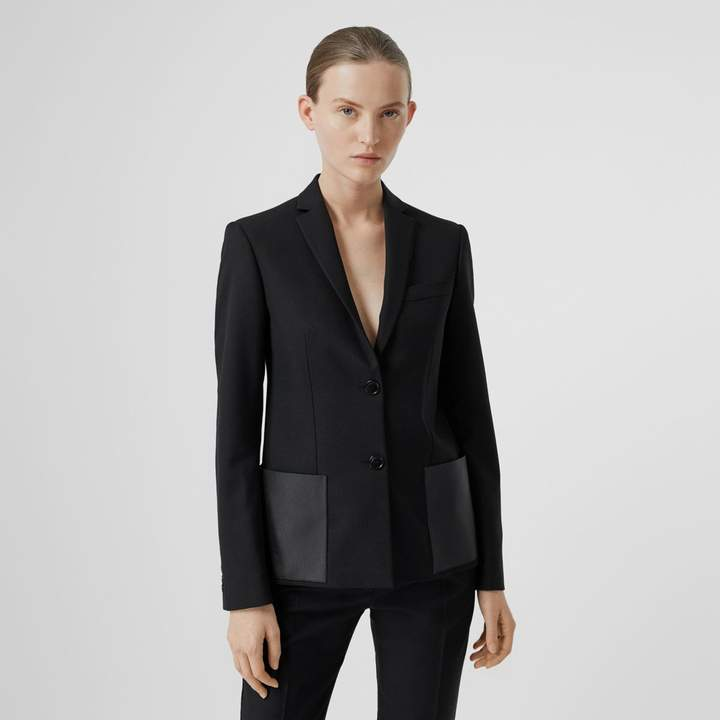 Burberry Leather Detail Wool Tailored Jacket