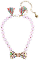 Betsey Johnson Gold-Tone Pink Imitation Pearl Crystal Bow Tie Collar Necklace