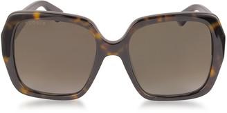 Gucci GG0096S 006 Havana Acetate Square Women's Polarized Sunglasses