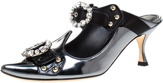 Dolce & Gabbana Black Leather And Satin Embellished Buckle Detail Pointed Toe Sandals Size 38