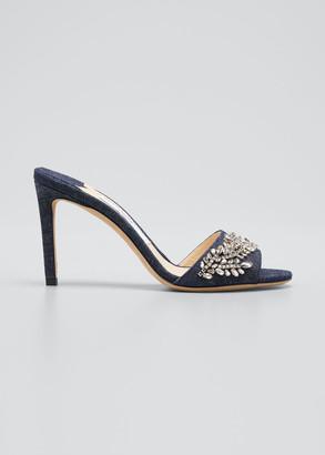 Jimmy Choo Stacey Embellished Denim Heel Slide Sandals