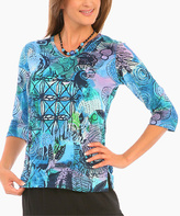 Le Mieux Blue Abstract Three-Quarter Sleeve Top - Plus Too