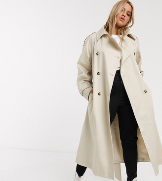 Asos DESIGN Curve longline trench coat in stone