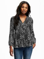 Old Navy Patterned Pintuck Swing Blouse for Women