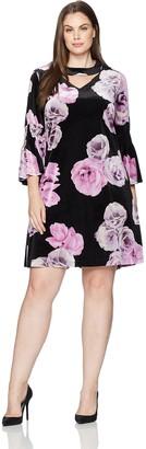 Julian Taylor Women's Plus Size Full Figure Floral Printed Gigi Neckline Dress