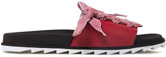 Roger Vivier Lace-up Grosgrain-trimmed Logo-embossed Leather Slides