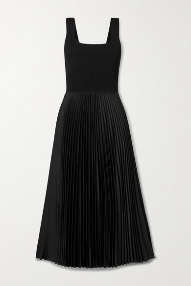 Theory Ribbed-knit And Pleated Satin-crepe Midi Dress - Black