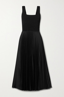 Theory Ribbed-knit And Pleated Satin-crepe Midi Dress - Black