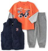 Kids Headquarters Boys 2-7 Three-Piece Racecar Tee, Sherpa Vest and Pants Set