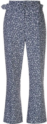 Jonathan Simkhai Cropped Ditsy Floral Print Trousers