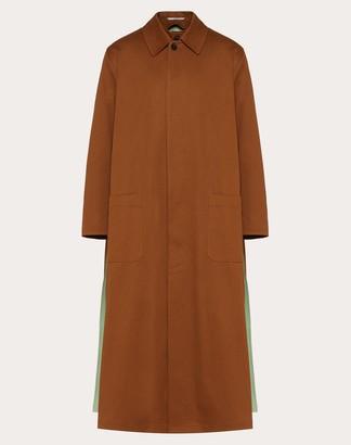 Valentino Long Two-tone Coat Man Brown 100% Cotone 44