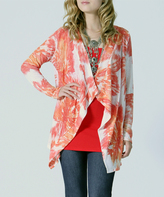 Coral & White Abstract Open Cardigan
