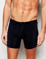 Asos Long Length Swim Trunks In Black