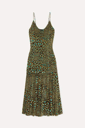 Caroline Constas Kai Metallic Leopard-print Fil Coupé Stretch-jersey Midi Dress - Army green