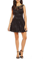 B. Darlin Beaded Neckline Lace A-line Party Dress