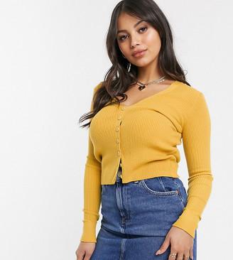 Glamorous Petite button through top in deep rib knit