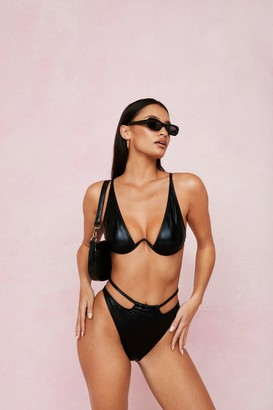 Nasty Gal Womens Coated Underwire V Neck Cut Out Bikini Set - Black