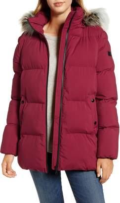 Sam Edelman Water Repellent Faux Fur Trim Puffer Jacket