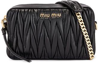Miu Miu Leather Camera Bag in Black | FWRD